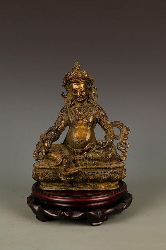 A FINE BRONZE GOD OF WEALTH BUDDHA FIGURE