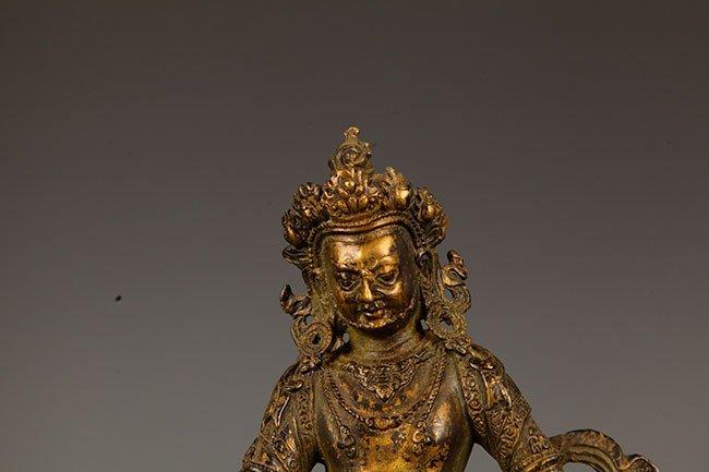A FINE BRONZE GOD OF WEALTH BUDDHA FIGURE - 2