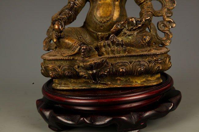 A FINE BRONZE GOD OF WEALTH BUDDHA FIGURE - 4