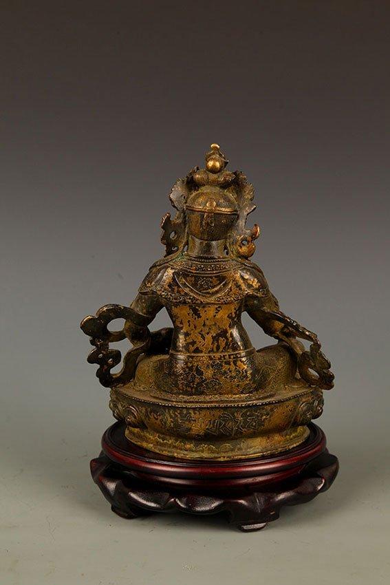 A FINE BRONZE GOD OF WEALTH BUDDHA FIGURE - 6