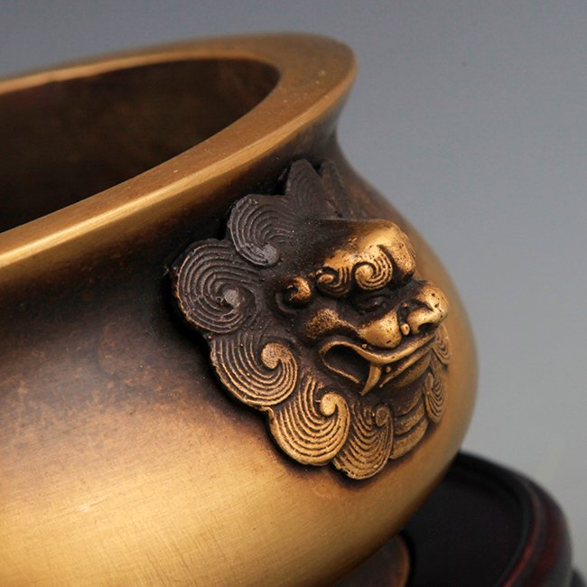 A DOUBLE LION CARVING BRONZE CENSER - 3