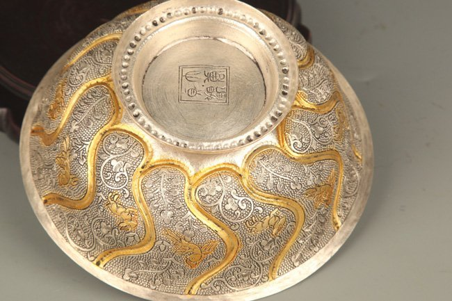 A FINELY CARVED SILVER PLATED BRONZE BOWL - 4