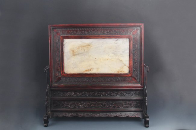 A FINE MARBLE CARVED XIAO YE ZI TAN TABLE SCREEN