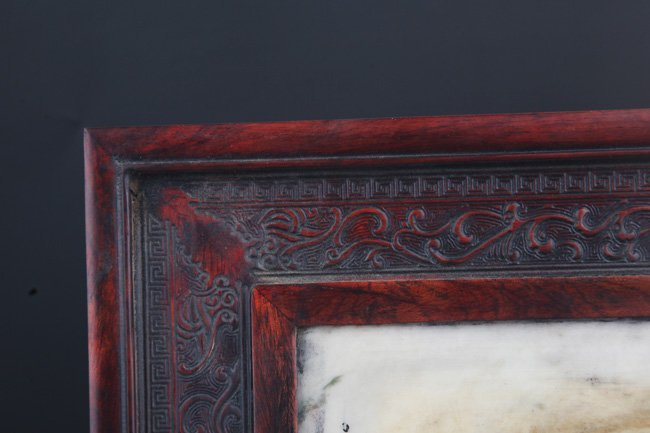 A FINE MARBLE CARVED XIAO YE ZI TAN TABLE SCREEN - 2
