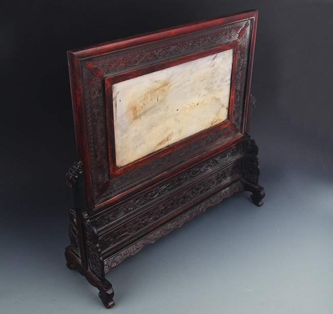 A FINE MARBLE CARVED XIAO YE ZI TAN TABLE SCREEN - 6