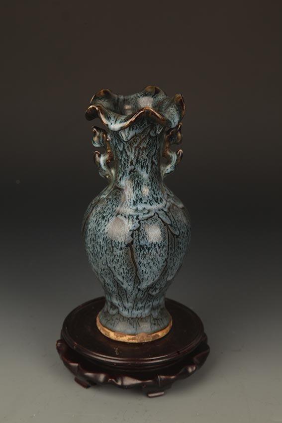 A DARK BLUE FISH CARVING PORCELAIN JAR