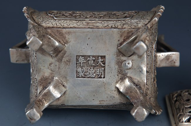 FINELY LION CARVING SQUARE BRONZE AROMATHERAPY - 6