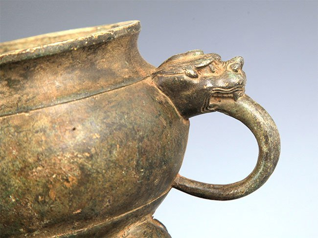A DOUBLE ELEPHANT EAR BRONZE CENSER - 3