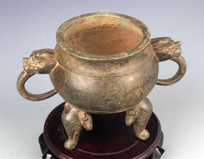 A DOUBLE ELEPHANT EAR BRONZE CENSER - 5