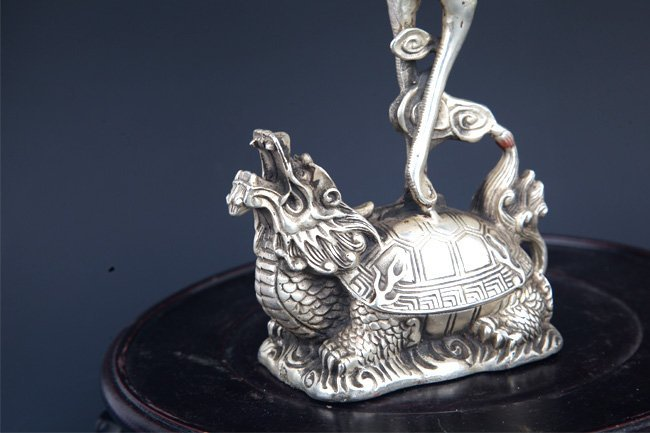 PAIR OF TURTLE AND CRANE CANDLE HOLDER - 2