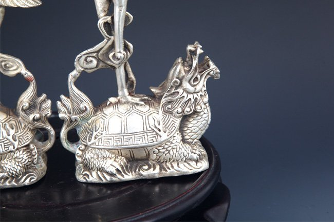 PAIR OF TURTLE AND CRANE CANDLE HOLDER - 6