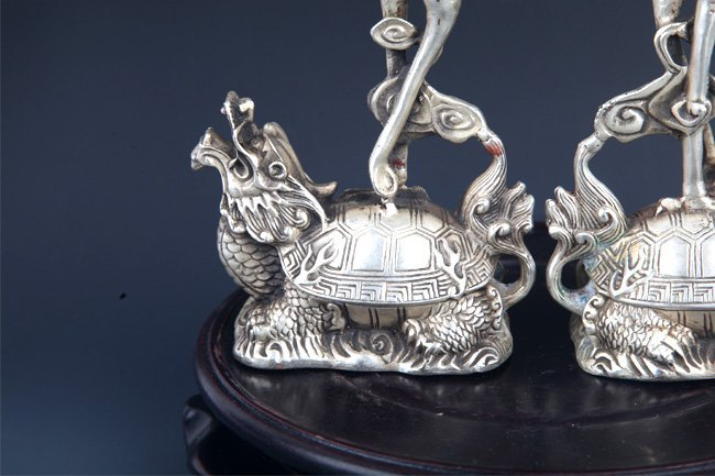 PAIR OF TURTLE AND CRANE CANDLE HOLDER - 7