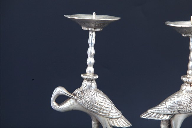 PAIR OF TURTLE AND CRANE CANDLE HOLDER - 8