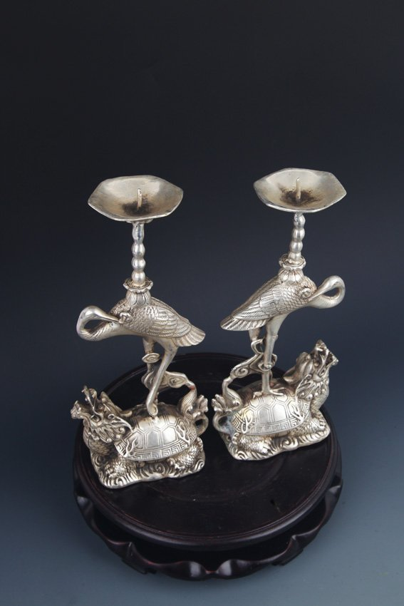 PAIR OF TURTLE AND CRANE CANDLE HOLDER - 9