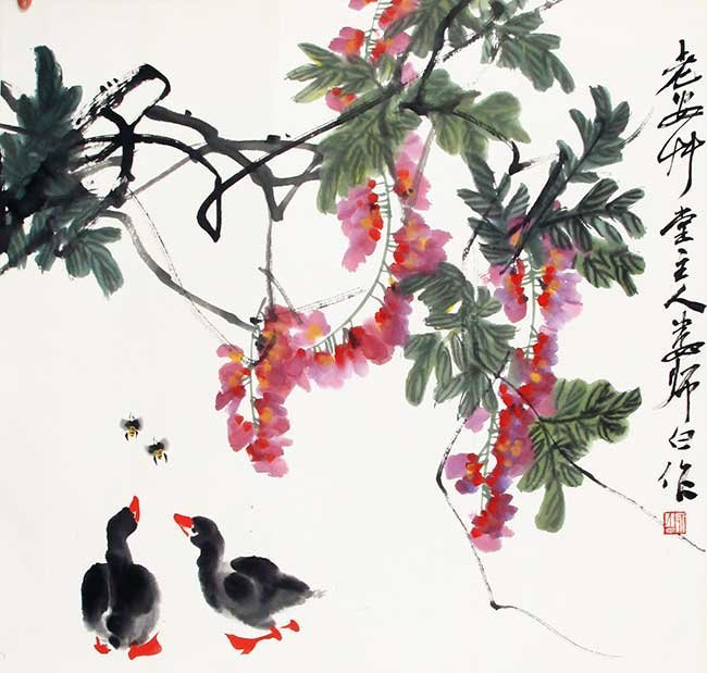 A LOU SHI BAI CHINESE PAINTING, ATTRIBUTED TO