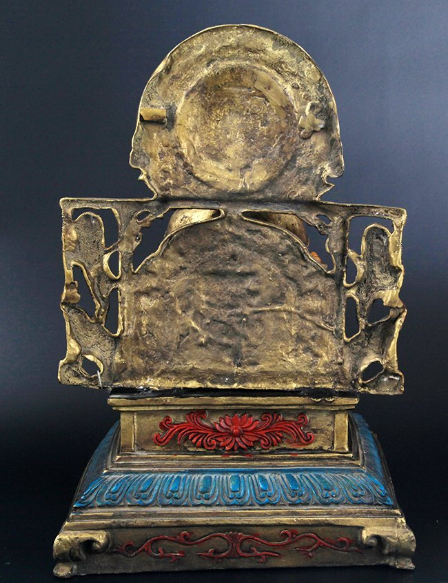 A FINELY CARVED BRONZE SETTING BUDDHA - 6