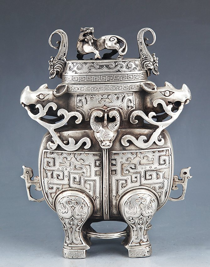 VERY DETAILED CARVING BRONZE WATER POT