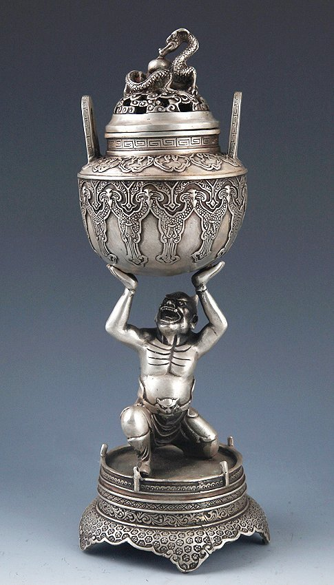 A TALL AND FINELY CARVED BRONZE AROMATHERAPY