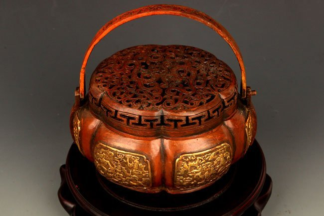 A FINELY CARVED BRONZE ROUND AROMATHERAPY - 2