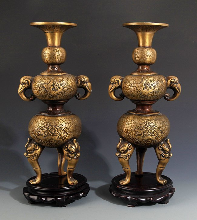 TWO DRAGON AND PHOENIX CARVING BRONZE CANDLESTICKS