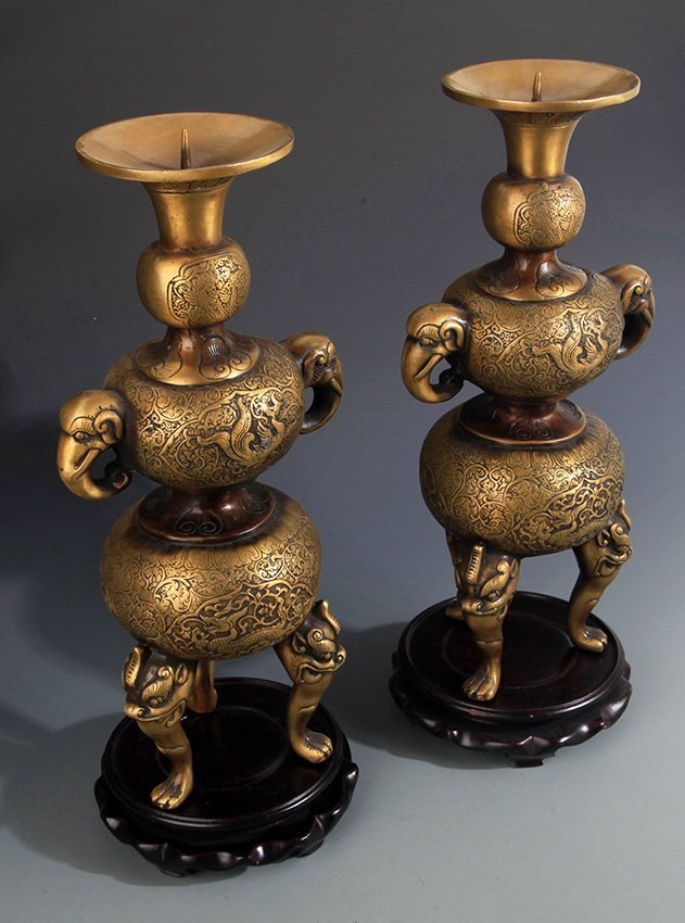 TWO DRAGON AND PHOENIX CARVING BRONZE CANDLESTICKS - 8