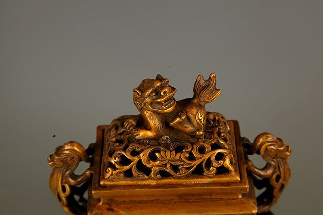 PAIR OF FINELY CARVED BRONZE AROMATHERAPY - 2