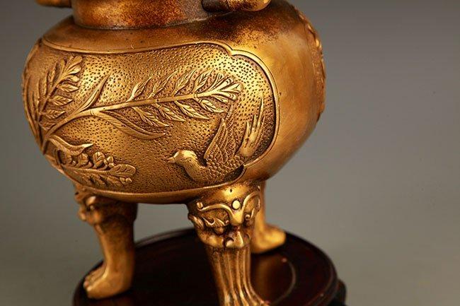 PAIR OF BIRD CARVED BRONZE AROMATHERAPY - 9