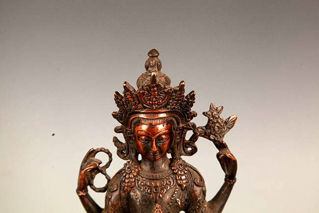 A FINELY CARVED GUAN YIN BRONZE FIGURE - 2