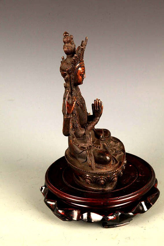 A FINELY CARVED GUAN YIN BRONZE FIGURE - 5