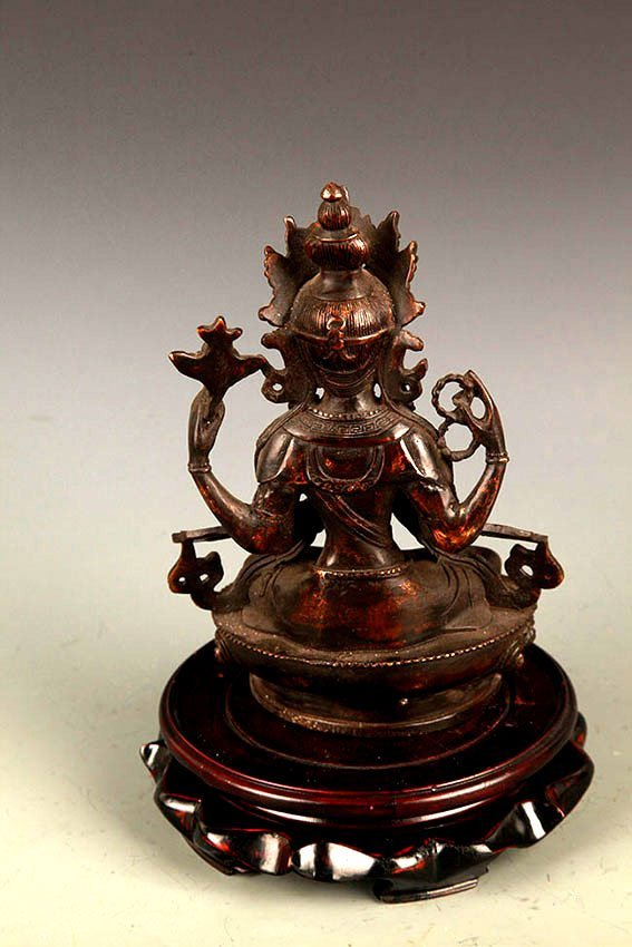 A FINELY CARVED GUAN YIN BRONZE FIGURE - 6