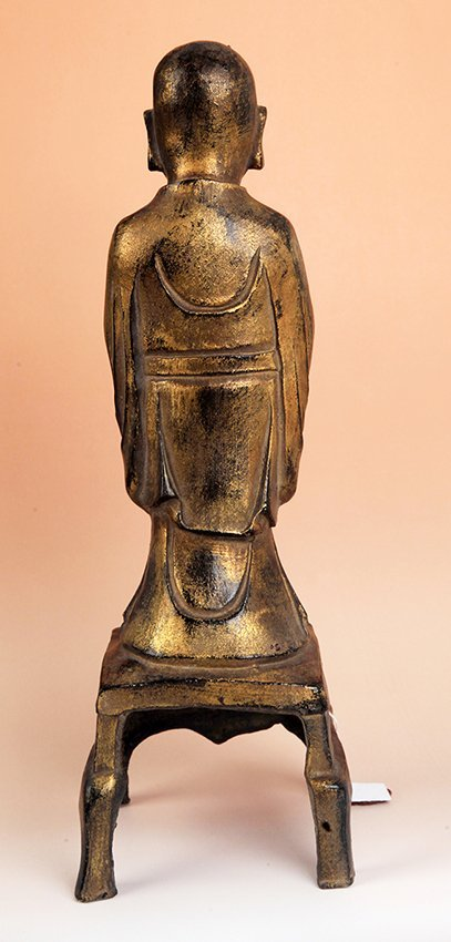 TALL GILT BRONZE BUDDHA FIGURE - 2