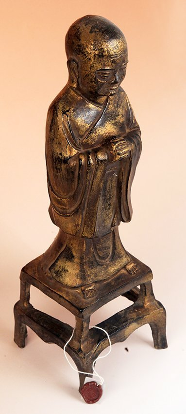 TALL GILT BRONZE BUDDHA FIGURE - 9
