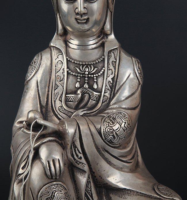 A FINELY CARVED GUAN YIN SHAPE BRONZE BUDDHA - 3