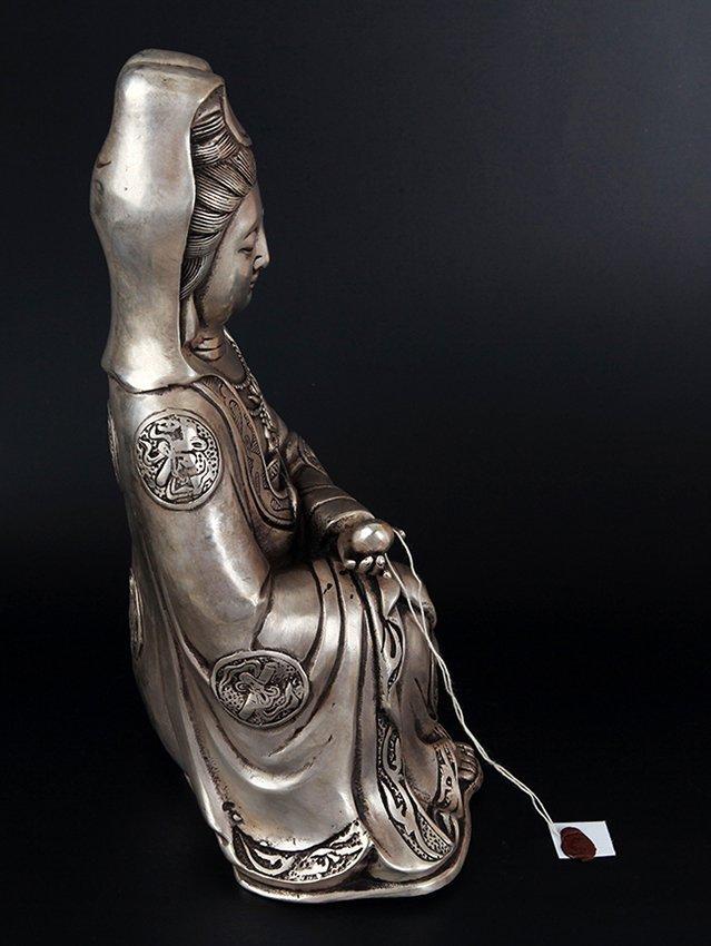 A FINELY CARVED GUAN YIN SHAPE BRONZE BUDDHA - 6