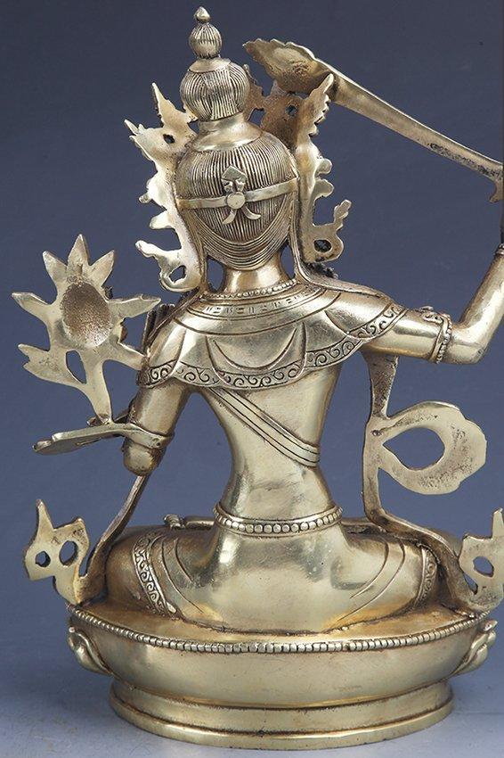A DETAILED CARVED GILT-BRONZE BUDDHA - 5