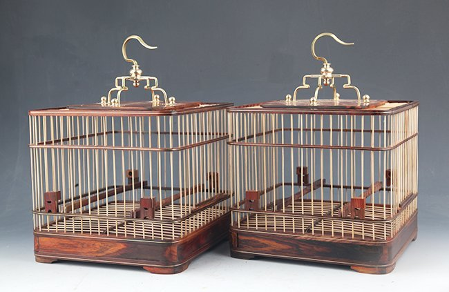 PAIR OF HUANG HULI MU BIRD CAGE