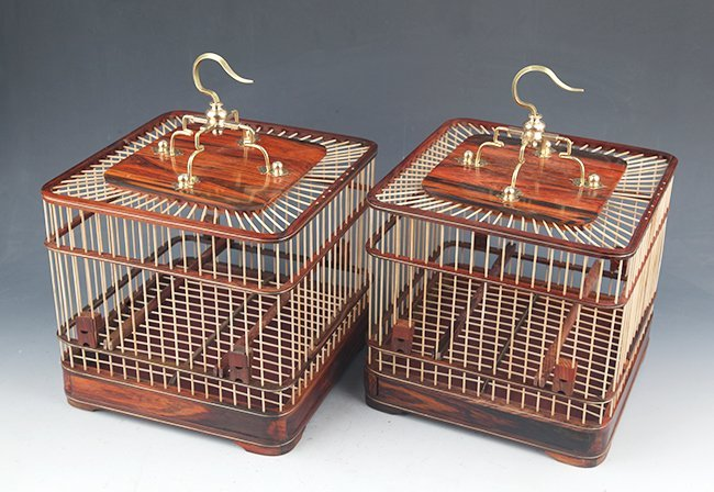 PAIR OF HUANG HULI MU BIRD CAGE - 2