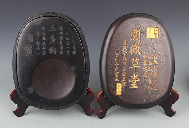 FINELY CARVED STONE INK WITH WOOD BOX