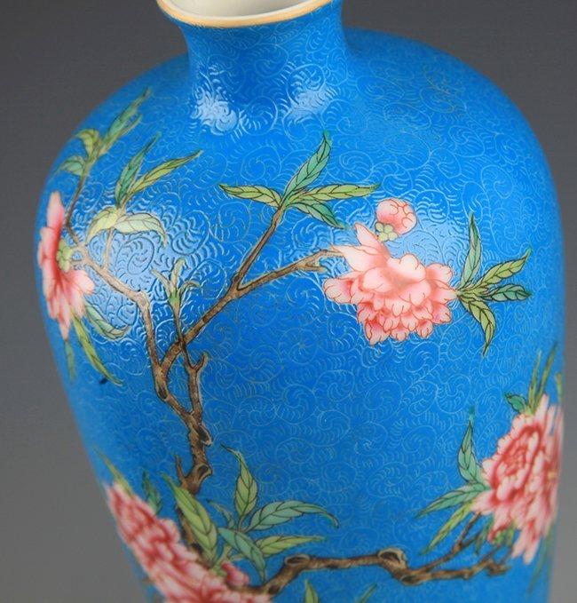 A BLUE GLAZED FAMILLE-ROSE PLUM BOTTLE - 3
