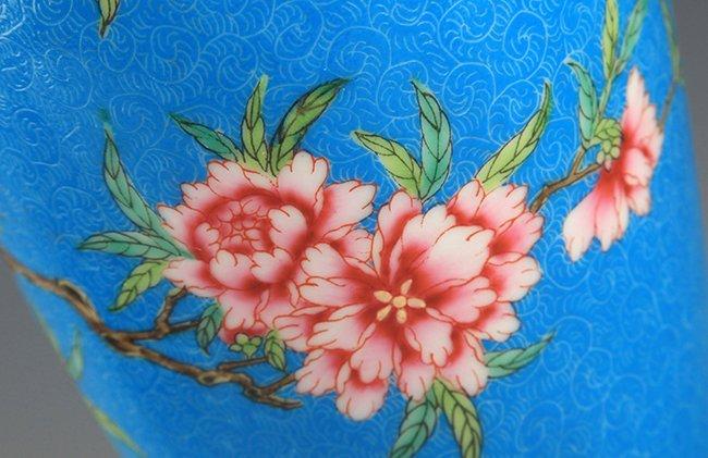 A BLUE GLAZED FAMILLE-ROSE PLUM BOTTLE - 5