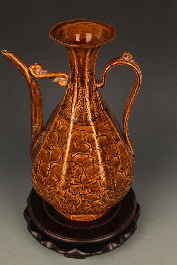 A BROWN COLOR GLAZED FLOWER PORCELAIN WATER JAR - 2