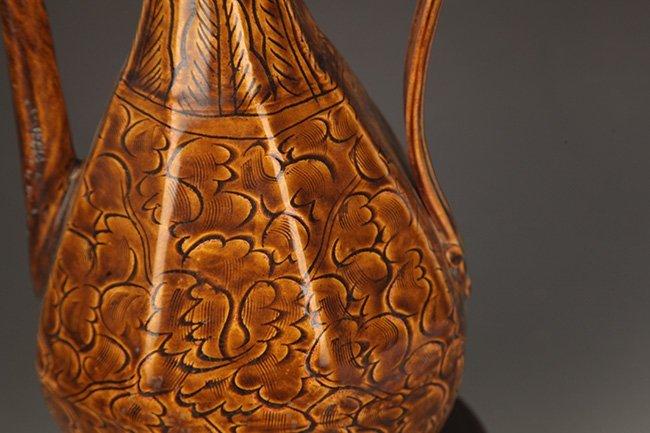 A BROWN COLOR GLAZED FLOWER PORCELAIN WATER JAR - 5