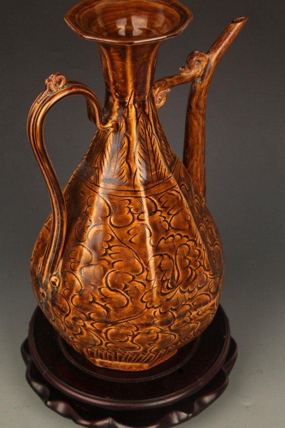 A BROWN COLOR GLAZED FLOWER PORCELAIN WATER JAR - 7