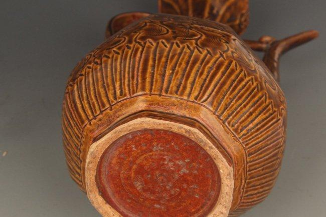 A BROWN COLOR GLAZED FLOWER PORCELAIN WATER JAR - 8
