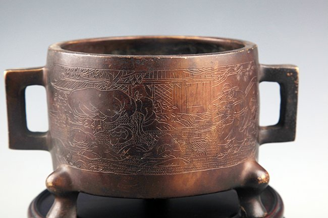 A FINELY CARVED DOUBLE HANDLE BRONZE CENSER - 4