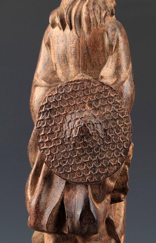 A FINELY CARVED AGAR WOOD BODHIDHARMA ROHAN - 7