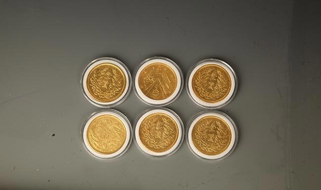 GROUP OF SIX OLD GOLD GILT CHINESE COIN - 2