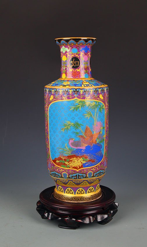 A ENAMEL COLOR FLOWER AND BIRD PAINTED BOTTLE