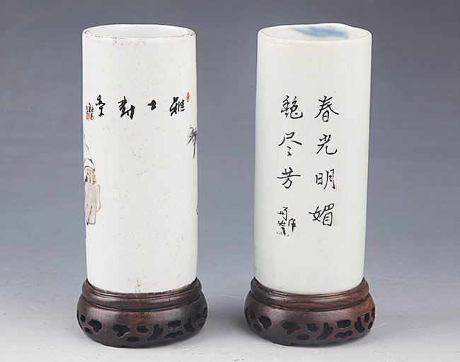 A PAIR OF FINELY PAINTED PORCELAIN BRUSH POT - 4