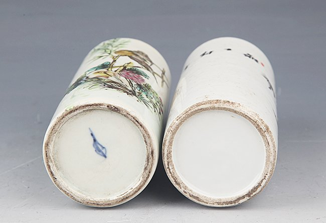 A PAIR OF FINELY PAINTED PORCELAIN BRUSH POT - 6
